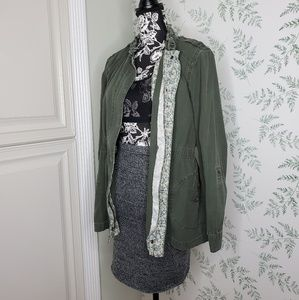 Elle Military Style Jacket Olive Green Zipper Draw